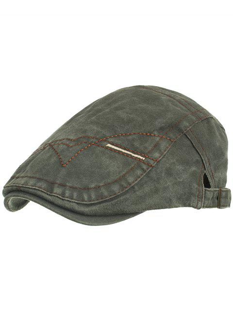 Line Embroidery Washed Dyed Newsboy Cap - ARMY GREEN