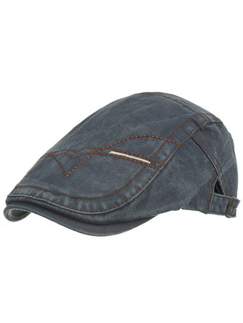 Line Embroidery Washed Dyed Newsboy Cap - MARBLE BLUE