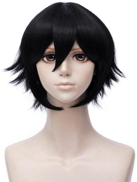 Short Inclined Bang Straight Aotu World Anime Camil Cosplay Synthetic Wig - BLACK