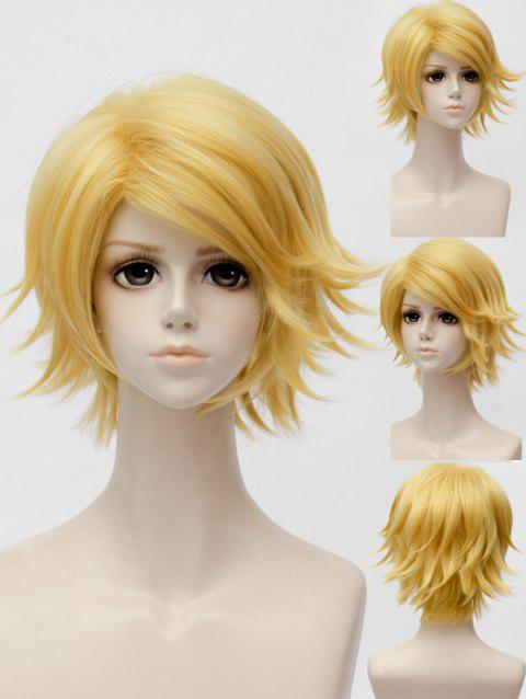 Mystic Messenger Yoosung Cosplay Short Inclined Bang Slightly Curly Synthetic Wig - GOLDEN BROWN