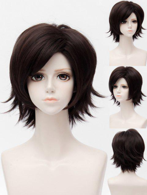 Mystic Messenger Jumin Han Cosplay Short Side Bang Straight Synthetic Wig - DEEP BROWN