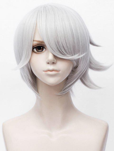 Short Inclined Bang Straight Synthetic Anime Aotu World Daniel Cosplay Wig - WHITE