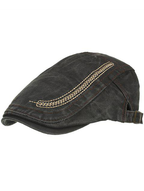 Simple Embroidery Washed Dyed Cabbie Hat - BLACK