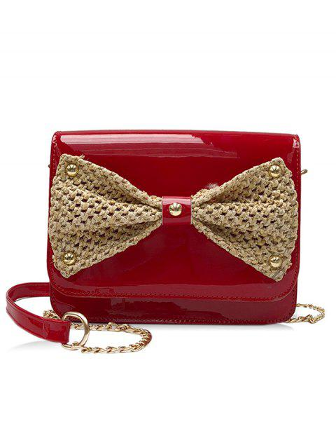 PU Leather Woven Bowknot Detail Crossbdoy Bag - RED
