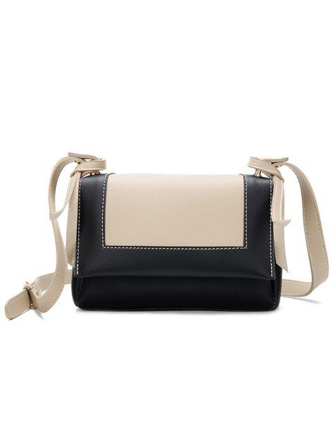 PU Leather Color Block Crossbody Bag - BLACK