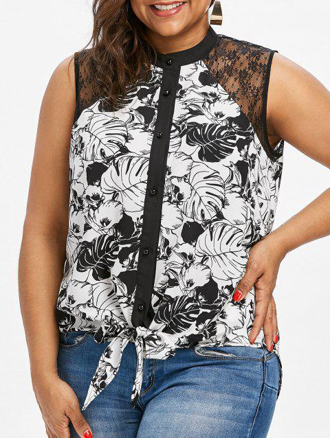 Sheer Lace Panel Plus Size Button Up Blouse - BLACK 3XL