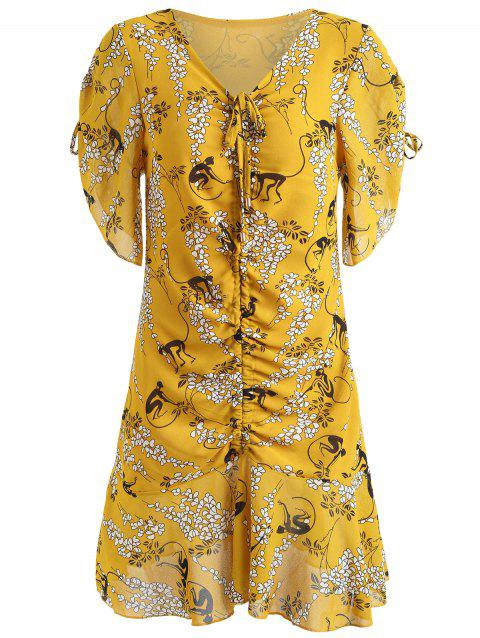 V-neck Ruched Print Dress - SCHOOL BUS YELLOW M