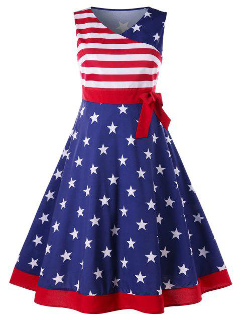 Plus Size V Neck American Flag Dress - multicolor 4X