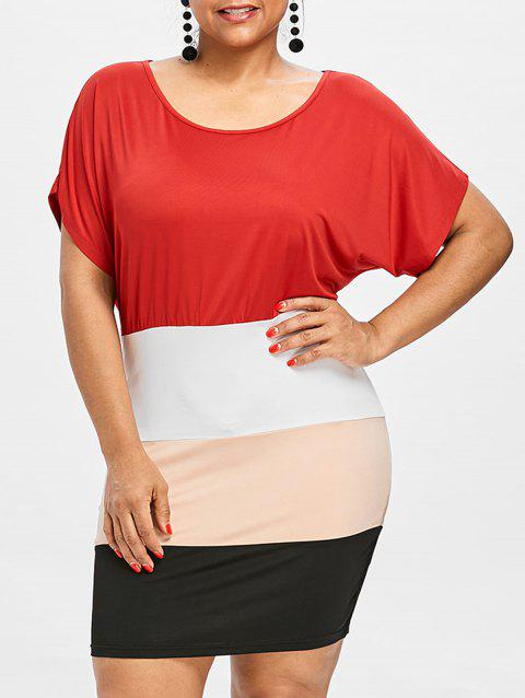 Plus Size Batwing Sleeve Fitted Dress - multicolor L
