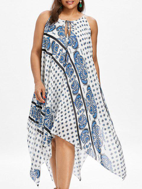 Plus Size Printed Long Handkerchief Dress - WHITE 4X