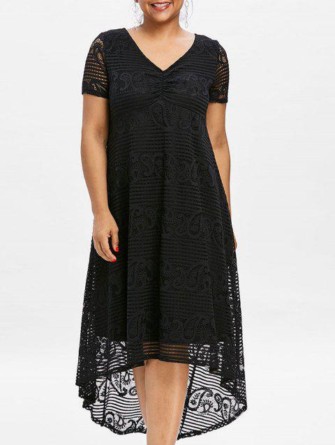 Plus Size High Low Lace Party Dress - BLACK 4XL