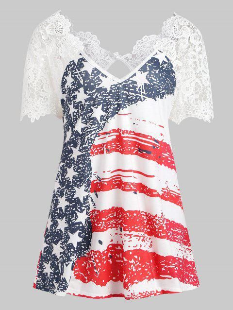 Back Cut Out American Flag T-shirt - multicolor XL