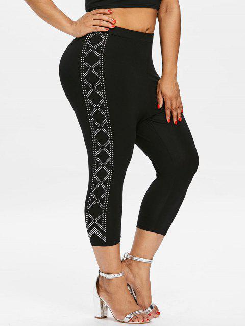 Plus Size Cropped Rhinestone Leggings - BLACK L