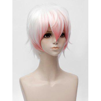 Short Inclined Bang Colormix Straight Mystic Messenger Saeran Cosplay Synthetic Wig - multicolor