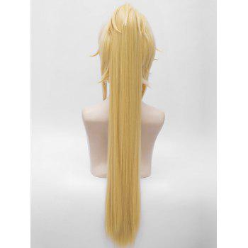 Aotu World Pelley Cosplay Long Side Bang Braids Ponytail Straight Synthetic Wig - YELLOW
