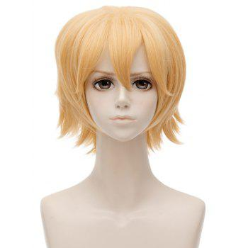 Short Inclined Bang Straight Anime Auto World King Cosplay Synthetic Wig - GOLD
