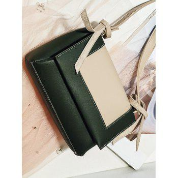 PU Leather Color Block Crossbody Bag - CAMOUFLAGE GREEN