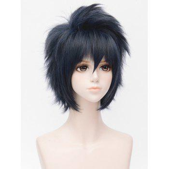 Short Inclined Bang Fluffy Straight Cosplay Synthetic Wig - multicolor