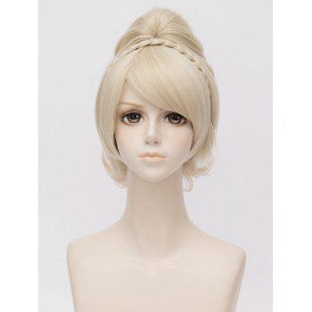 Anime Cosplay Long Inclined Bang Braided Ponytail Synthetic Wig - BLONDE