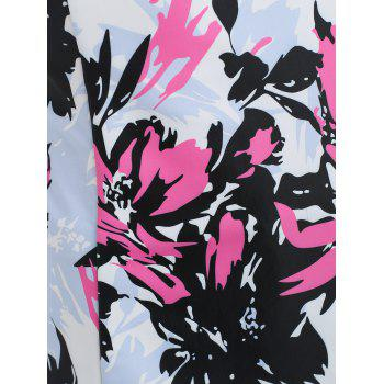 Floral Twisted Cami Tankini Set - NEON PINK M