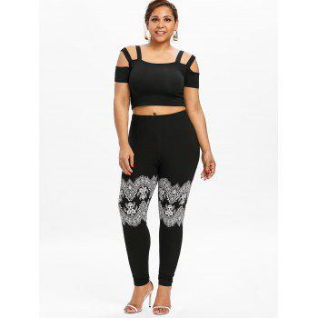 Plus Size Printed Elastic Waist Leggings - BLACK 2XL