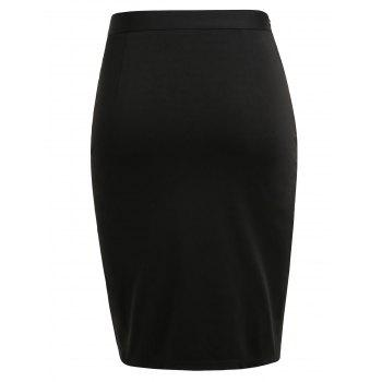 Button Decorated Plus Size Fitted Skirt with Slit - BLACK L