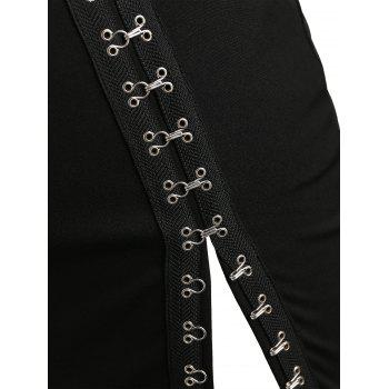 Button Decorated Plus Size Fitted Skirt with Slit - BLACK 1X