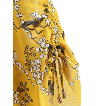 V-neck Ruched Print Dress - SCHOOL BUS YELLOW S