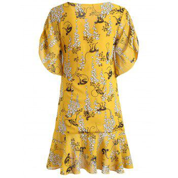V-neck Ruched Print Dress - SCHOOL BUS YELLOW 2XL