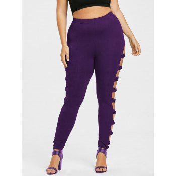 Plus Size Bow Ladder Cut Leggings - PURPLE 5XL