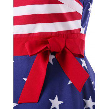 Plus Size V Neck American Flag Dress - multicolor 1X