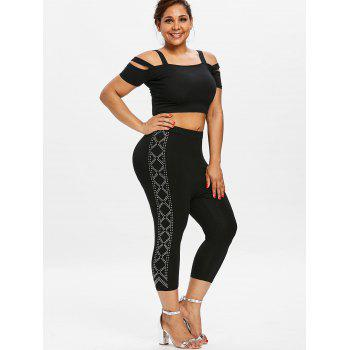 Plus Size Cropped Rhinestone Leggings - BLACK 4X