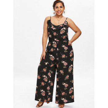 Plus Size Spaghetti Strap Wide Leg Jumpsuit - BLACK 1X