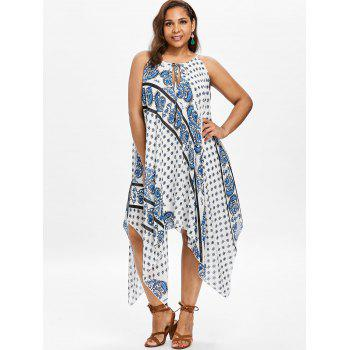 Plus Size Printed Long Handkerchief Dress - WHITE L