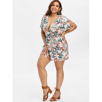 Leaf Print Plus Size Mini Romper - multicolor 3XL