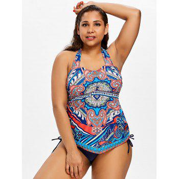 Plus Size Ethnic Ruched Tankini Set - MIDNIGHT BLUE 2X