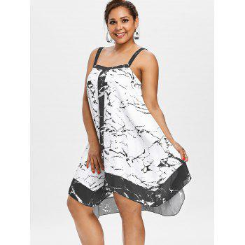 Plus Size Marble Flowy Tunic Dress - WHITE 3X