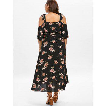 Plus Size High Low Tie Straps Print Dress - BLACK L