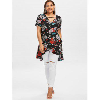 Plus Size Tropical Floral Overlap Blouse - BLACK 1X