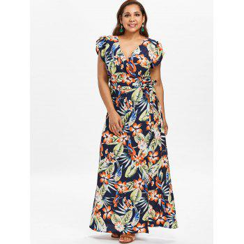 Plus Size Tropical Print Maxi Wrap Dress - DEEP BLUE 4X