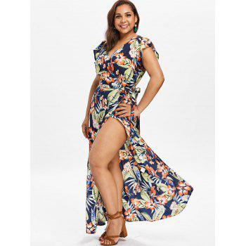 Plus Size Tropical Print Maxi Wrap Dress - DEEP BLUE 5X