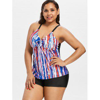 Plus Size Space Dye Empire Waist Tankini Set - COLORMIX XL