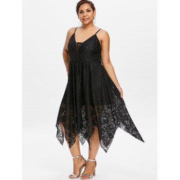 Plus Size Cami Lace Up Dress - BLACK 3X