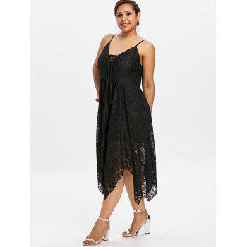 Plus Size Cami Lace Up Dress - BLACK 4X