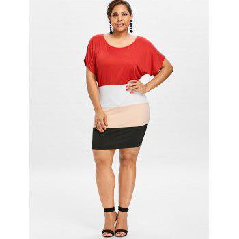 Plus Size Batwing Sleeve Fitted Dress - multicolor 5X