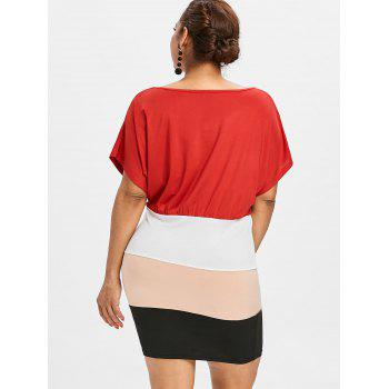 Plus Size Batwing Sleeve Fitted Dress - multicolor 1X