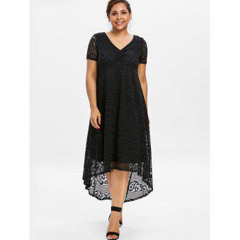 Plus Size High Low Lace Party Dress - BLACK 2XL