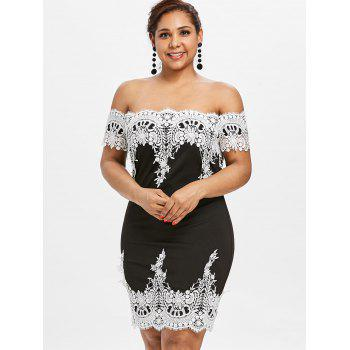 Plus Size Lace Trim Off Shoulder Dress - BLACK L