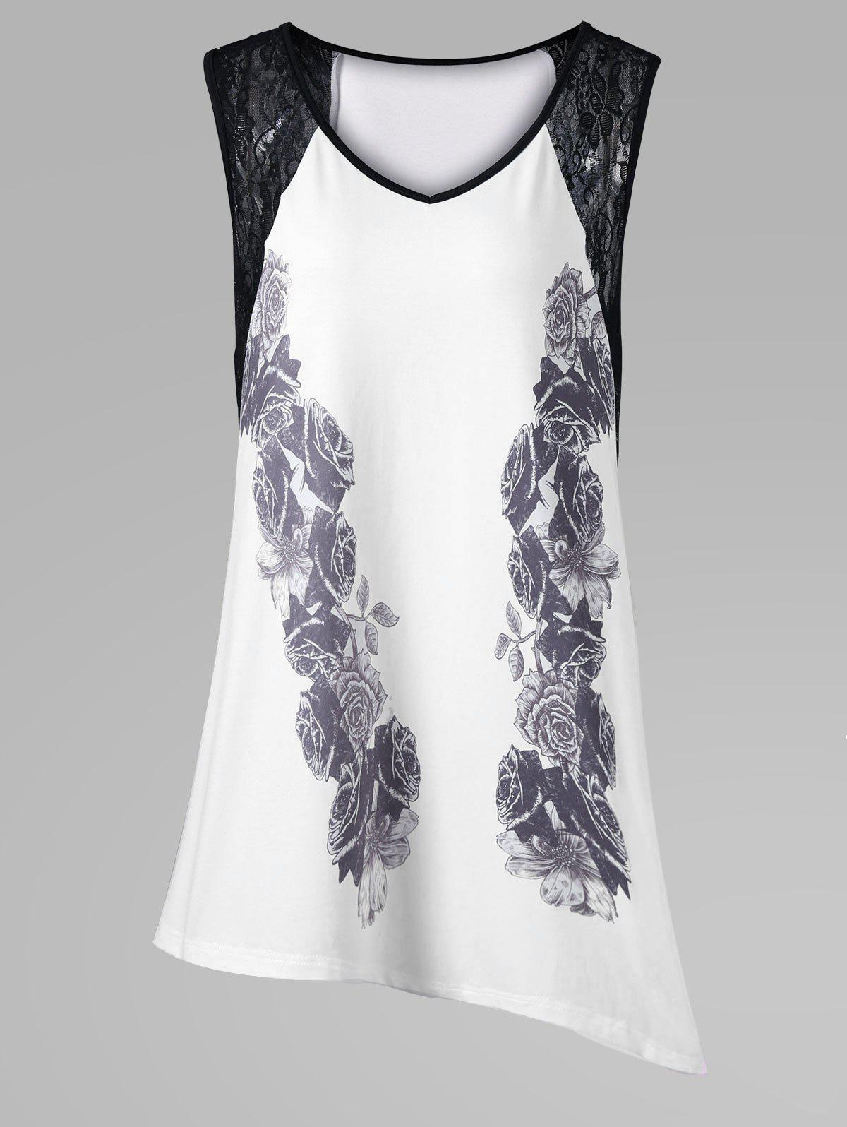 Plus Size Lace Insert Asymmetric Sleeveless T-Shirt - WHITE XL