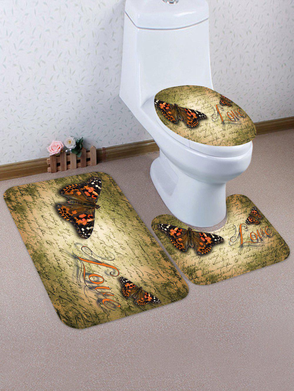 Butterfly Love Pattern 3 Pcs Flannel Bath Mat Toilet Mat wave sandbeach pattern 3 pcs bath mat toilet mat